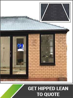 hipped lean to solid roof conservatory